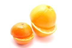 Orange und Mandarine für Saft Stockfoto