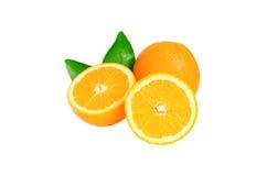 Orange und orange Scheibenisolat auf Weiß mit Arbeitsweg Stockfotos