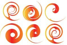 Orange und rote Spiralen Lizenzfreie Stockfotografie