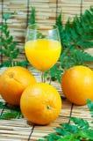 Orange und Saft mit Blättern stockbilder