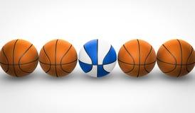 Orange und weiße und blaue Basketbälle Stockbild
