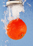 Orange under running water. Stock Image