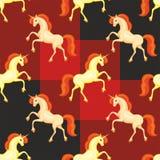 Orange unicorn pattern Stock Photo