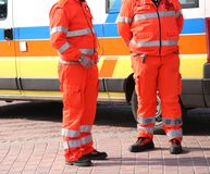 Orange uniforms of the paramedics for emergency rescue Royalty Free Stock Photo