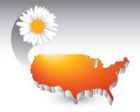 Orange united states icon with daisy flower Royalty Free Stock Photo