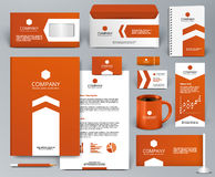 Orange universal branding design kit with arrow. Professional orange universal branding design kit with arrow for real estate/investment. Corporate identity Royalty Free Stock Photo