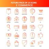 Orange uppsättning för Futuro 25 E-kommers symbol royaltyfri illustrationer