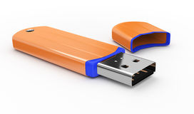 Orange USB flash drive Stock Image