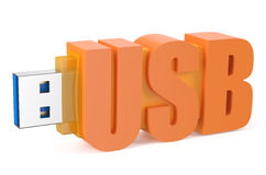 Orange USB flash drive ss 3.0. Isolated on white background Royalty Free Stock Photos