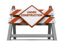 orange väg för barriärconsruction under Arkivbilder