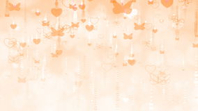Orange Valentine`s Day Background with Butterflies and Hearts. stock video