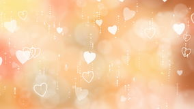 Orange Valentine`s Hearts Background. stock footage