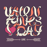 Orange Valentines day doodle ribbon lettering on purple background Royalty Free Stock Images