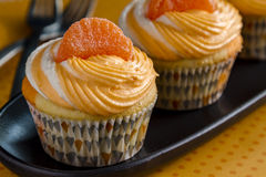 Orange Vanilla Bean Swirled Cupcakes Royalty Free Stock Images