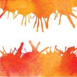Orange vattenfärgmålarfärgbakgrund med fläckar Arkivbild