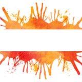Orange vattenfärgmålarfärgbakgrund med fläckar och banret Arkivfoton