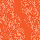 Orange vector background with feathers Royalty Free Stock Image
