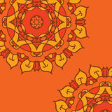 Orange vector background with ornamental mandala Royalty Free Stock Photography