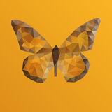 Orange vector butterfly in polygonal technique Royalty Free Stock Image