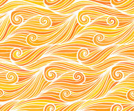 Orange vector curly waves seamless pattern Stock Photo