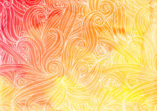 Orange vector doodles on watercolor background Royalty Free Stock Photography