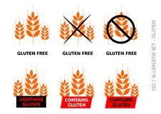 Orange Vector Gluten Free Signs on white background Royalty Free Stock Images