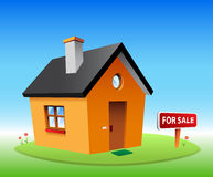 Orange vector house. For sale Royalty Free Stock Photos
