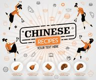 Orange vector illustration concept. chinese recipes recipes cover book.  healthy cooking recipe and delicious food cover can be fo stock illustration