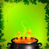 Orange vector potion in black cauldron on green Royalty Free Stock Image