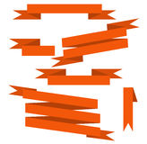 Orange vector ribbons set. Isolated on background Royalty Free Stock Photo