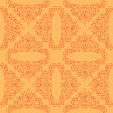 Orange vector seamless pattern with red decor Stock Image