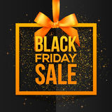 Orange vector square frame hanging on silky ribbon with Black Friday Sale sign inside Stock Photography