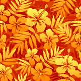 Orange vector tropical flowers seamless pattern Royalty Free Stock Photos
