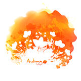Orange vector watercolor stain with white foliage Royalty Free Stock Photo
