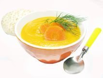 Orange vegetable soup with carrot Royalty Free Stock Photography