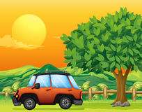 An orange vehicle near the big tree Royalty Free Stock Image