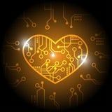 Orange vektor för strömkretshjärtabakgrund vektor illustrationer