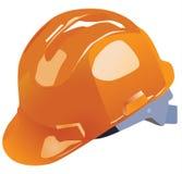 Orange vektorhardhat-Bauarbeit Stockfotografie