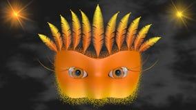 Orange Venetian maskering i moln Royaltyfri Bild