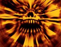 Orange verärgerter Burning herauf Schädel Apokalyptische Abdeckung stockfoto