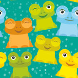 Orange vert-bleu jaune figée de grenouille drôle mignonne de bande dessinée sur le fond blanc Vecteur Images stock