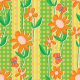 Orange Vertical Fabric Flower Seamless Pattern royalty free illustration