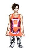 orange vest för attraktiv brunett fotografering för bildbyråer