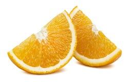 Orange Viertelscheiben vervollkommnen lokalisiert auf weißem Hintergrund Lizenzfreie Stockfotos