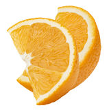 2 orange Viertelscheiben zusammen lokalisiert auf weißem Hintergrund Lizenzfreie Stockbilder