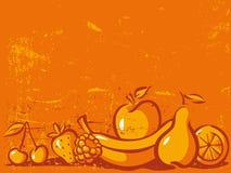 Orange vintage background with fruit Stock Images