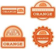 Orange Vintage Food Labels Stock Photos