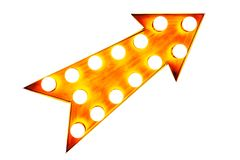 Orange vintage illuminated metallic display arrow sign with glowing light bulbs isolated on a seamless white background Royalty Free Stock Images
