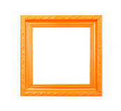 Orange Vintage picture frame on white background Stock Photos