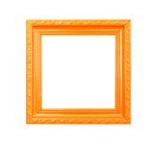 Orange Vintage picture frame on white background Stock Photos